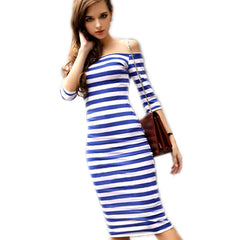 FANALA Bodycon Summer Dress Plus Size Off Shoulder Striped Office Cotton Beach Party Wrap Dresses