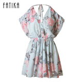 FATIKA Flower Print Pleated Playsuits Summer Jumpsuit Off Shoulder Ruffled V Neck Playsuit