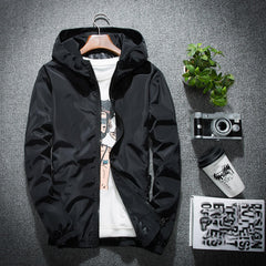 casual hooded jacket for spring and autumn Solid  Zipper  men jacket  streetwear
