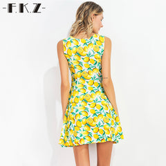 FKZ Summer Dress Fruit Lemon Printed Sleeveless Sexy Mini Sundress Deep Square Collar Dresses