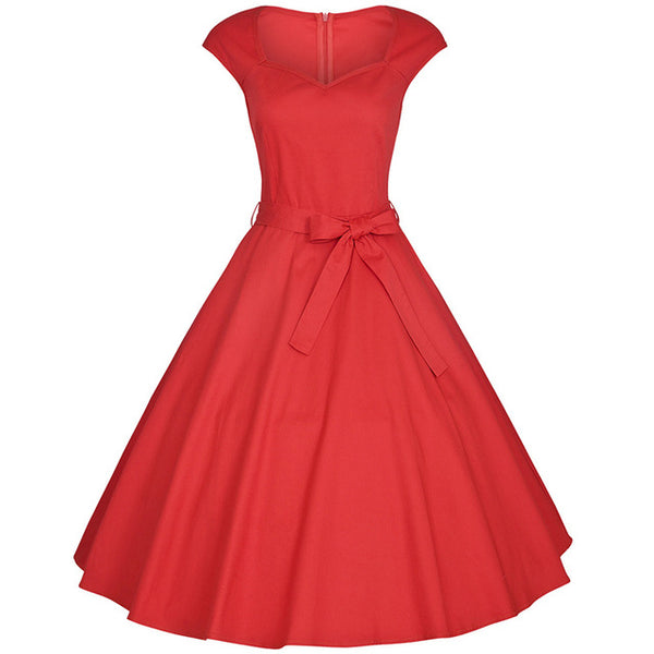 FRISMODE Summer V-neck Midi Red Swing Dress Plus Size Vintage Dresses Retro Rockabilly Dress