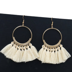 Vintage Bohemian Handmade Cotton Tassel Earrings Ethnic Fringe Drop Earrings Party Jewelry