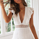 Women White Embroidery Short Dress Summer V Backless Lace up High Waist Party Dress
