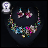 Flowers Golden Metal Rhinestone Created Crystal Earrings Statement Maxi Choker Necklace Women Jewelry Sets