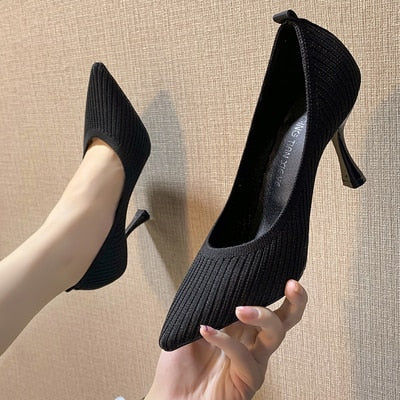 Black High Heels Shallow Mouth Women Work Shoes Pointed Toe Stiletto Knitted Single Shoes