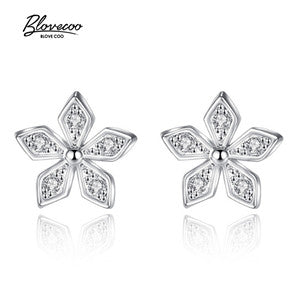 Silver Stud Earrings Ladies Exquisite Jewelry Luxury AAA + Zircon Geometric Shape Silver Earrings