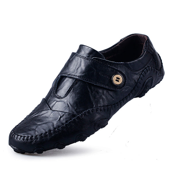 British Style Men Casual Shoes Genuine Leather Slip On Shoes High Quality Outdoor Shoes