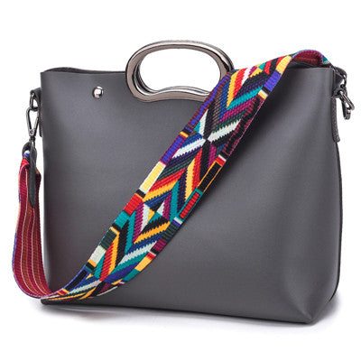 Colorful Strap Women Shoulder Bags Famous Handbags High Quality PU Leather Bag