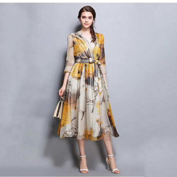 Fall Runway Dresses Women Floral Print Autumn Chiffon Dresses Party Vestidos
