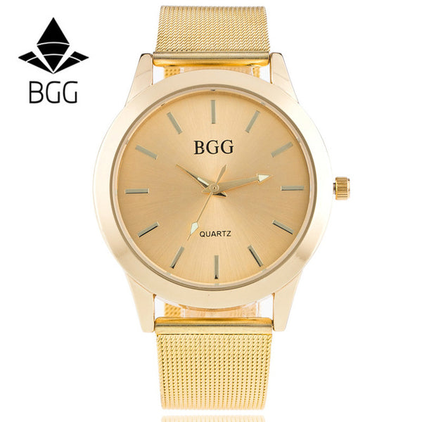 Luxury BGG Casual Women Watches 30m Waterproof Gold Stainless Steel Watch