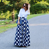 Vintage Polka Dots Women Long Skirt High Waist Printed Maxi Skirt Casual Black/Blue/Red Pleated Skirt