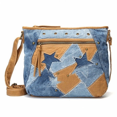 Women Bags Handbag Jeans Shoulder Star Patchwork Jeans Soft Washed Leather Crossbody Bag Purse