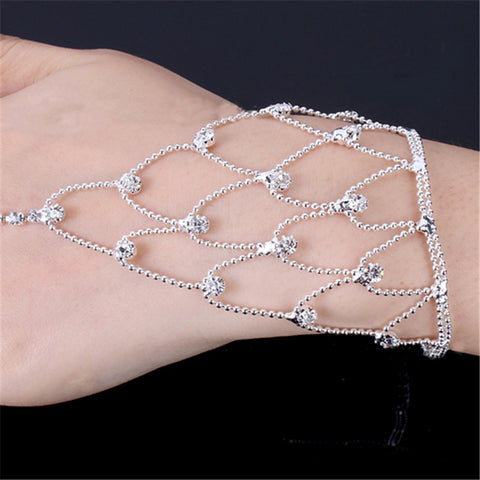 Women Bangle Net Mesh Hand Chain Finger Ring Crystal Bracelets Bridal Wedding Party Jewelry