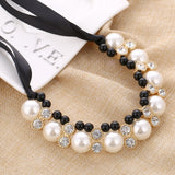 Maxi Necklaces Black Rope Chain String Imitation Pearls Beads Crystal Collar Chokers Necklaces Pendants