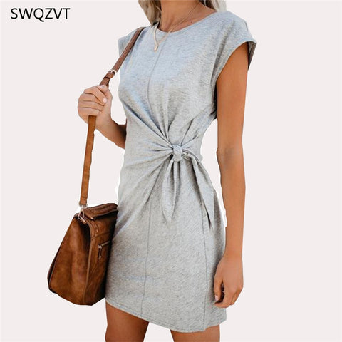 Mini Dress Casual Round Neck Waist Tie Spring Summer Loose Solid Short Dress