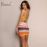 Feditch Summer Sexy Halter Backless Dress Vintage Sleeveless Knitted Party Dresses