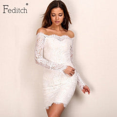 Feditch Vintage Lace Dresses Strapless Slash Neck Floral Dress Long Sleeve Slim Bodycon