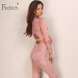 Feditch Suede Jumpsuits Back Hollow Bandage Rompers Bodycon Solid Lady Club Overalls