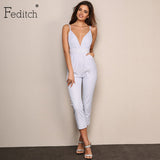 Feditch Striped Jumpsuits Romper Spaghetti Strap Backless V Neck Overalls Summer Beach Outfit