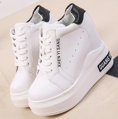 Women's High Heels Platform Shoes Height Increasing Leather Shoes 12 CM Thick Sole Trainers Shoes