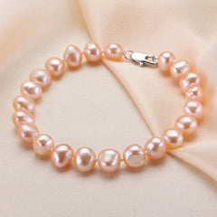 Feige Baroque Style Pink Natural Freshwater Pearl Strand Bracelet Women Fine Pearl Jewelry