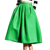 Women Green Color Casual Flare High Waist Pleated Pockets Vintage Midi Skirt