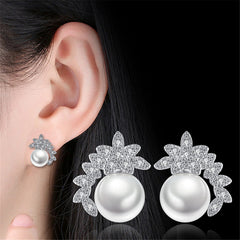 Women Jewelry Sweet Leaves Stud Earrings Pearl Flowers Luxury Cubic Zirconia Earrings