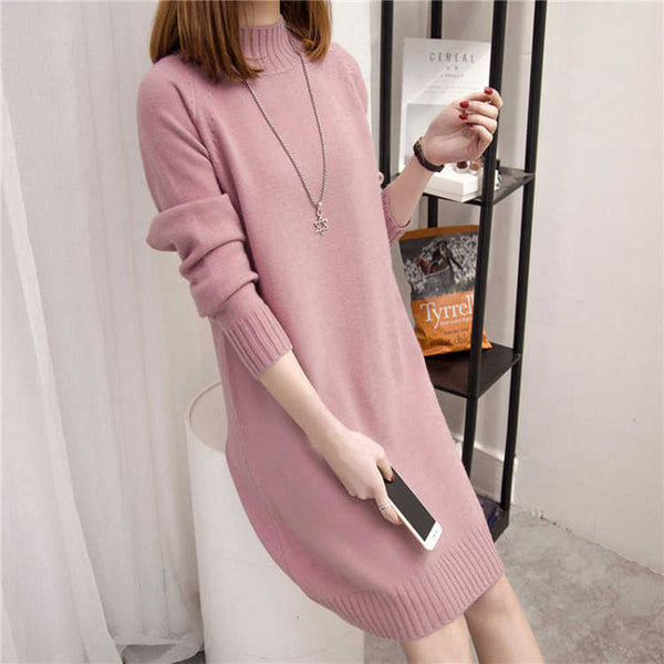 Autumn Winter Long Sleeve Sweater Dresses  Elegant Women Clothing Casual Dresses