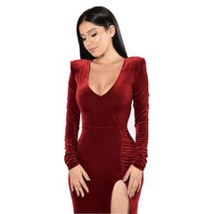 Fetoo velvet bodycon Maxi women sexy split low cut long sleeve Party Dress