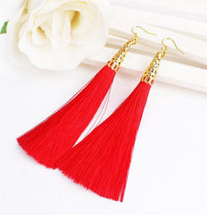 Fiber Long Tassel Dangle Earrings Women Drop Brincos Brush Earring Jewelry Pendientes Bijoux