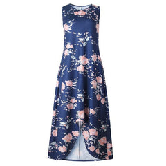 Floral Blue Summer Maxi Dresses Sleeveless Floor Length Vintage Casual Long Party Dress