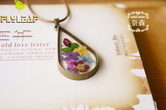 Flyleaf Vintage Natural Dried Flowers Long Necklaces Pendants Women Retro Girl Gift Bronze Jewelry