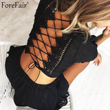Backless Lace-Up Two Piece Romper Black Red Boot Cut Women Playsuit