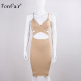 ForeFair Summer Sleeveless Cross V-neck Party Dresses Plus Size Cotton Midi Sling Bodycon Dress