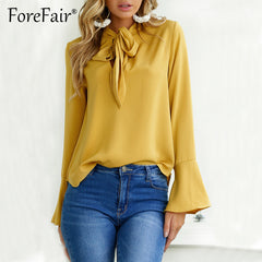 Casual Loose Blouse Women Chiffon Shirt Autumn Bow Tie Neck Flare Long Sleeve Solid Tops