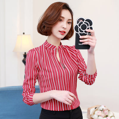 Chiffon Blouses Shirt V-Neck Print Women Elegant Shirt Office Long Sleeve Tunic Tops