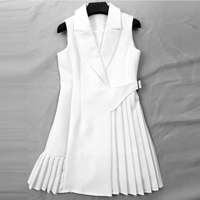 437814c25f9db Runway Dress High Quality Women Vestidos Sleeveless Notched Collar Pleated  Summer Dresses