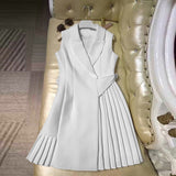 Runway Dress High Quality Women Vestidos Sleeveless Notched Collar Pleated Summer Dresses