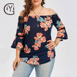 GIYI Plus Size Floral Print Chiffon Off Shoulder Blouse Shirt Summer Flare Sleeve Casual Beach Top