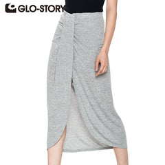 GLO-STORY Summer Skirts Women Casual Beach Long Skirt Knitting Solid Mid-Calf Maxi Skirts