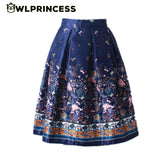 Summer Women Vintage Retro Satin Floral Pleated Skirts High Waist A-Line Tutu Midi Skirt