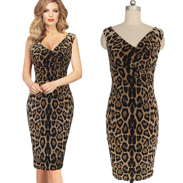 Women Summer Dresses Sleeveless Leopard Printed Bandage Bodycon Pencil Cocktail Party Dress