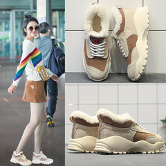 Leather Snow Boots New Shoes Women with Fur Winter Warm Sneakers Flat Fashion Platform Ladies Casual