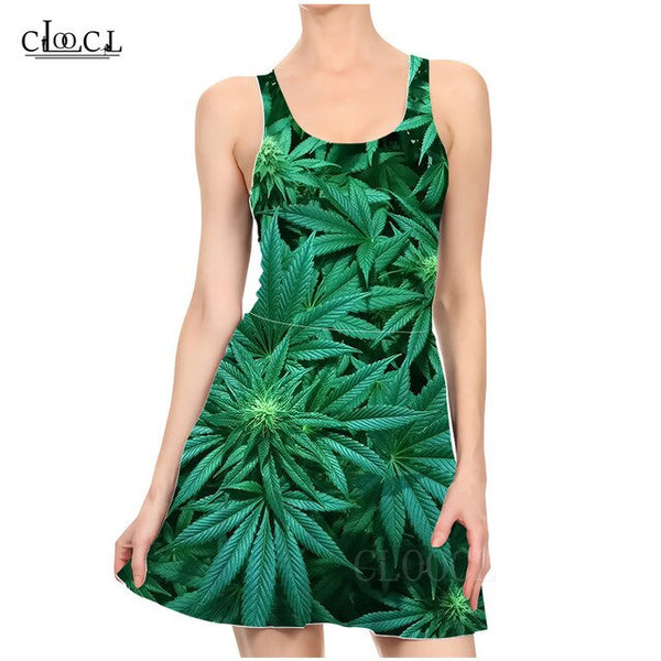 Sleeveless Dresses 3D Print Hemp Leaf Casual Summer Slim Beach Dress Party Dress
