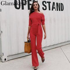 Cold Shoulder Bandage Jumpsuit Slim Brief Winter Romper Work Office Business Long Playsuit