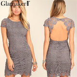 White Lace Women Dress Sexy Back Hollow Out Casual Dress Autumn Short Sleeve Party Dress