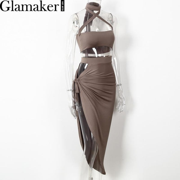 Glamaker Halter Split Sexy Dress Evening Party Summer Dress Hollow Out Bandage Dress