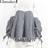 Glamaker Plaid Off Shoulder Blouse Shirt Spring Striped Backless Women Tops Slim Beach Blouse