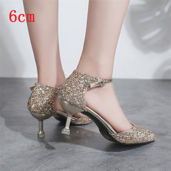 Glittering Gold Silver High Heels Pointed Ankle Strap Wedding Shoes Party Pumps Shoes