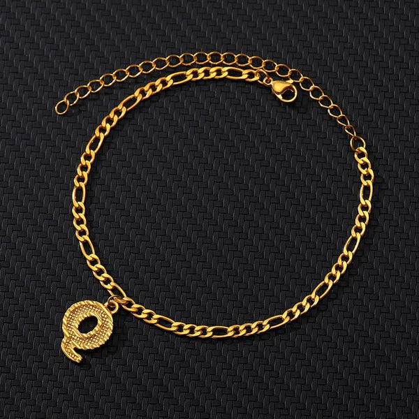 Gold Color Letter Initial Anklets Bracelets Stainless Steel Alphabet Leg Foot Bracelet Jewelry